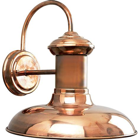 Copper Outdoor Lighting Fixtures Progress Lighting Brookside Collection 1 Light Copper Wall Lantern P5723 14 The Home Depot