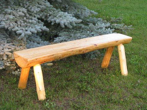 bench log rustic wood benches higher ground log furnishings