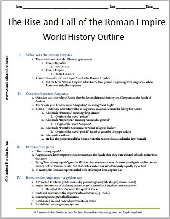 The Fall Of Rome Essay by Rise And Fall Of The Empire Free Printable History Outline For Grades 7 12 Social