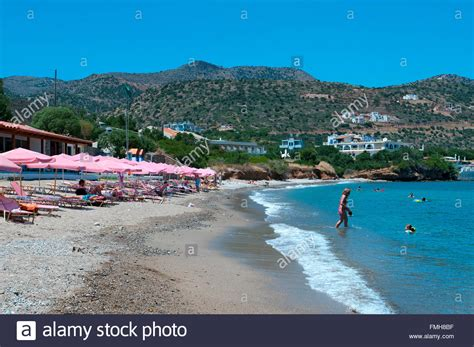 agios nikolaos crete greece beach havania beach agios nikolaos crete greece stock photo