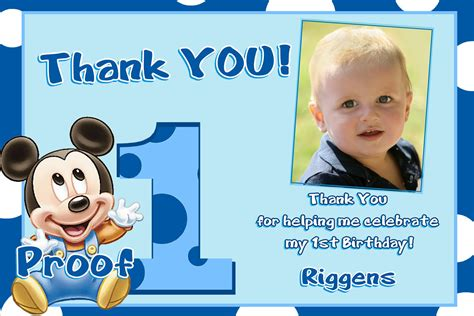 Thank You 1st Birthday Cards Mickey Mouse 1st Birthday Thank You Cards