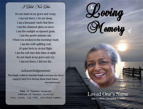 free memorial card template software 73 best images about printable funeral program templates