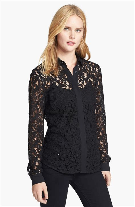 Michael Kors Lace michael michael kors lace shirt in black lyst
