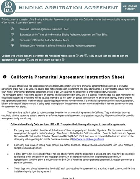 prenuptial agreement california template california prenuptial agreement sle for free