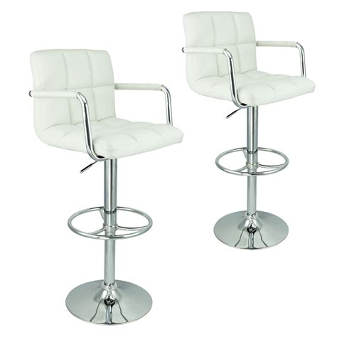 adjustable counter stools with arms 2 white w arm swivel bar stool pu leather modern