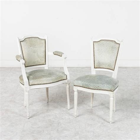White Nailhead Dining Chair Set Of Louis Xvi Style Dining Chairs Painted White With Nailhead Upholstery For Sale At 1stdibs