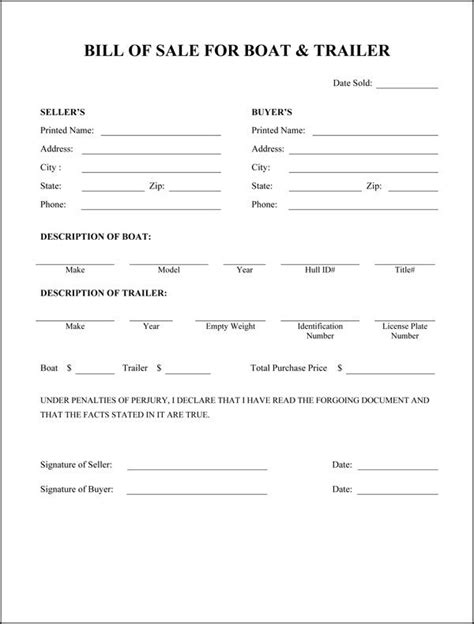 Letter Of Intent To Purchase Boat Printable Sle Bill Of Sale Templates Form Forms And Template Templates And