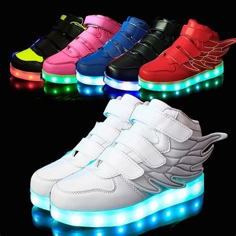 Led Shoes Kets Cewe 37 42 25 37 size usb charging basket led children shoes with light up casual boys luminous