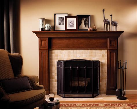 wooden fireplace mantels decoration with frame and brown