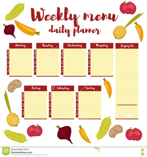 weekly menu daily red planner stock vector illustration