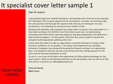 It Specialist Cover Letter by It Specialist Cover Letter