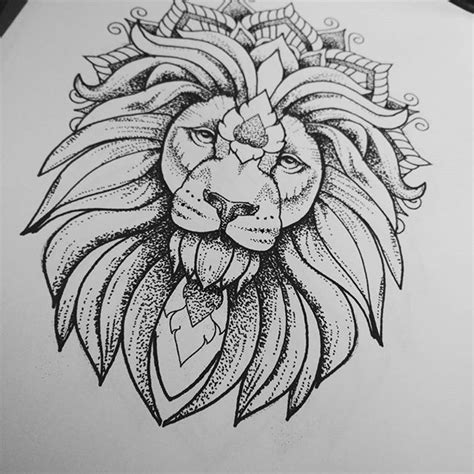 lion mandala tattoo luxury dotwork in mandala crown design