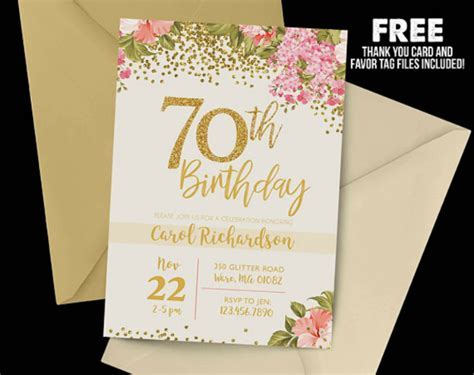 70th birthday card templates free 14 70th birthday invitation card templates designs