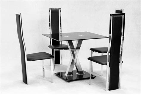 Square Dining Table And 4 Chairs Square Glass Dining Table X Chrome And 4 Faux Chairs Homegenies