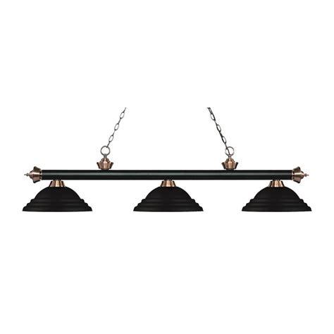 Black Island Light Filament Design Bryant 3 Light Matte Black And Antique Copper Island Light With Matte Black