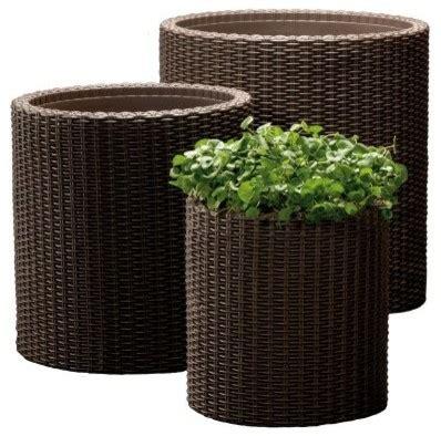 broyhill wicker planter keter rattan planters 3 set modern indoor pots