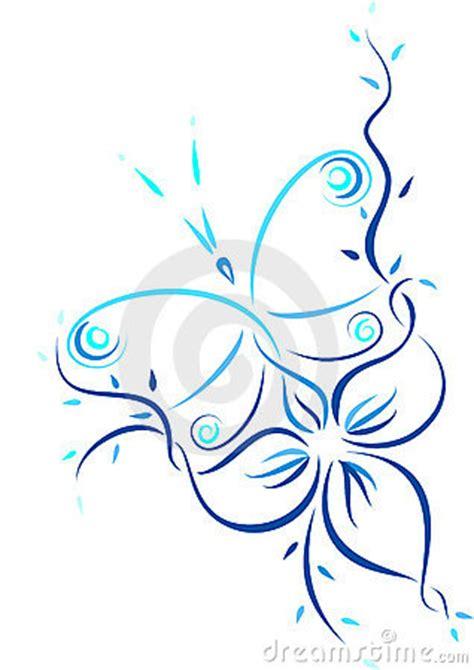 tekening vlinder met bloem patroon van de vlinder en de bloem stock foto s