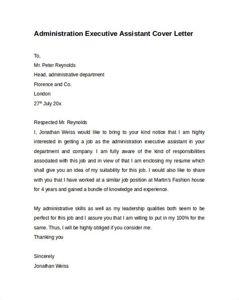 cover letter exles for executive assistant administrative assistant cover letter 9 free sles