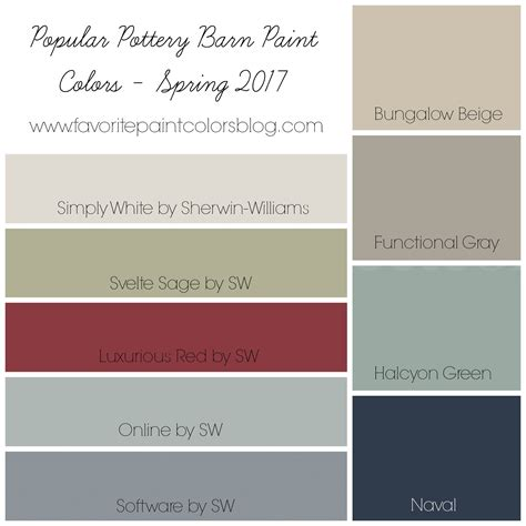 paint colors for 2017 popular pottery barn paint colors favorite paint colors blog