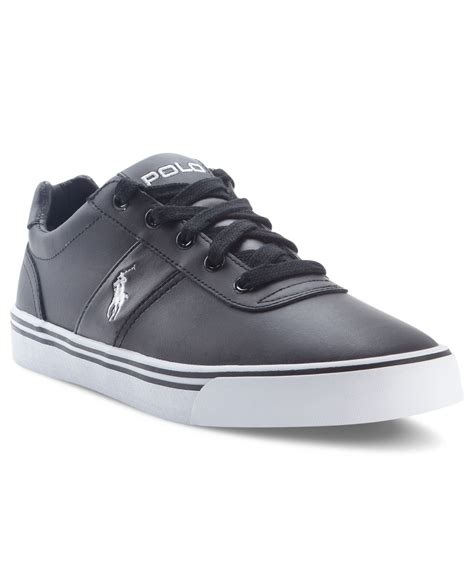 polo ralph mens sneakers polo ralph hanford leather sneakers in black for