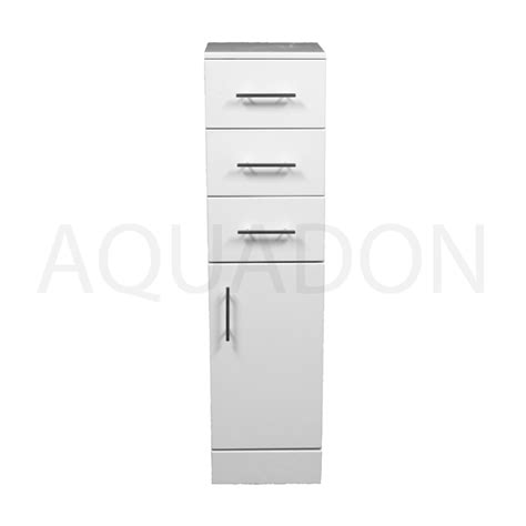 bathroom floor units 300mm x 320mm slim storage unit gloss white drawer