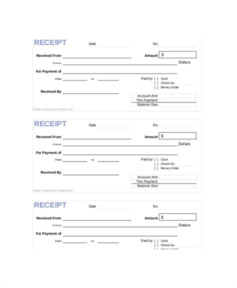 receipt template 4 25 x 5 5 receipt template 10 free word pdf documents