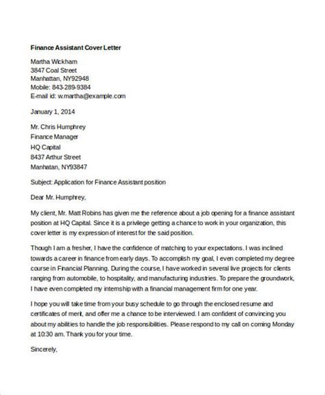 Finance Assistant Motivation Letter 9 Finance Cover Letters Free Sle Exle Format Free Premium Templates