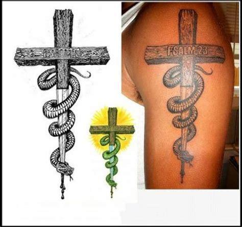 cross and snake tattoo tattoo from itattooz