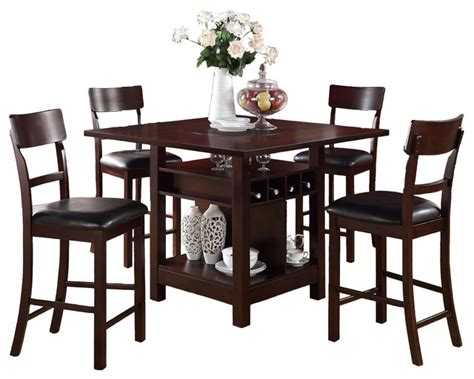 Rosy Brown 5 Piece Counter Height Set Square Table Lazy Susan Wine Storage   Modern   Indoor Pub