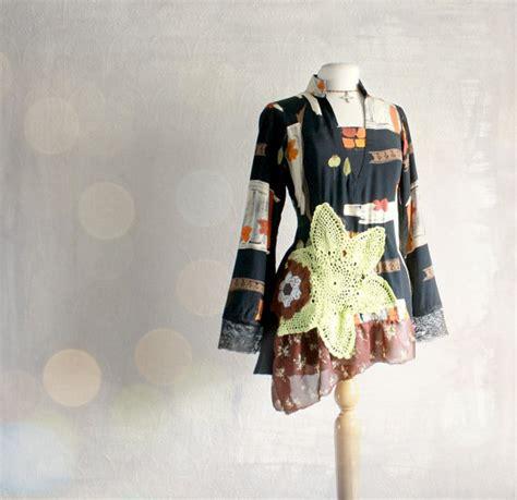 upcycled clothing uk upcycled vintage black tunic top eco clothing retro style