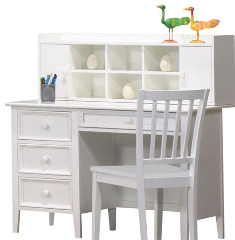 Children S Desk With Hutch Homelegance Whimsy 4 Drawer Desk With Hutch And Chair In White Traditional Home Office