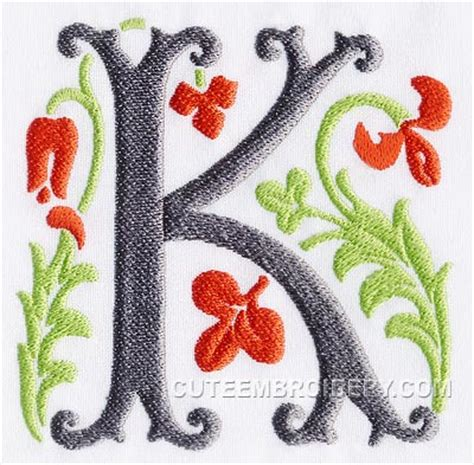 letter k alphabets embroidery fonts