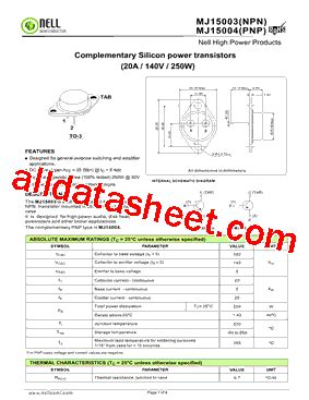 transistor mj15003 datasheet mj15003 datasheet pdf nell semiconductor co ltd