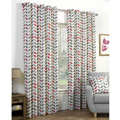 retro curtains uk neo retro eyelet print curtains grey red