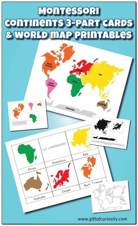 Montessori 3 Part Cards Template by Montessori Continents 3 Part Cards And World Map
