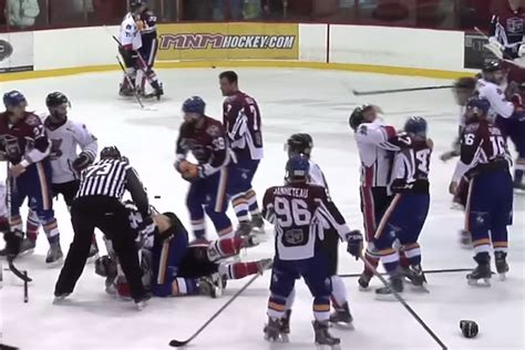 hockey bench clearing brawl total pro sports this quebec hockey brawl is insane and