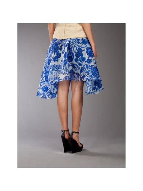 rodarte silk flowers print skirt in blue lyst