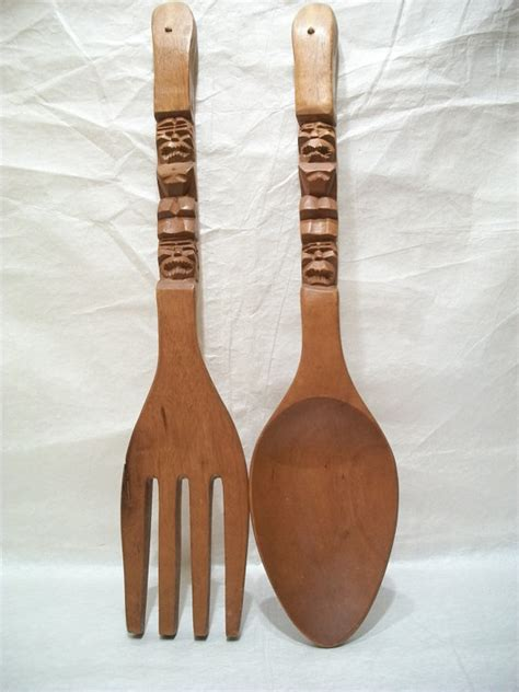 large vintage wooden fork and spoon wall decorations by