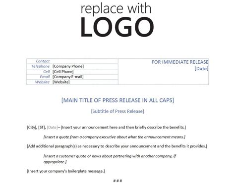 press release templates free template for press release template press release