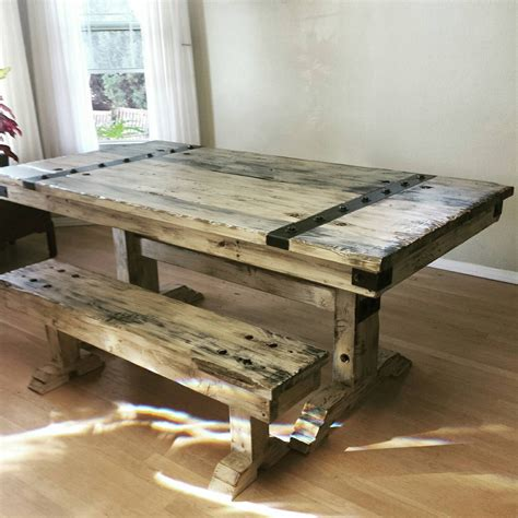 rustic distressed dining table and bench by salvagerepurposed