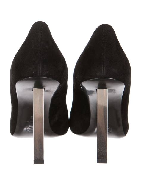 Chanel Suede Heels chanel new black suede metal cutout logo block heels pumps