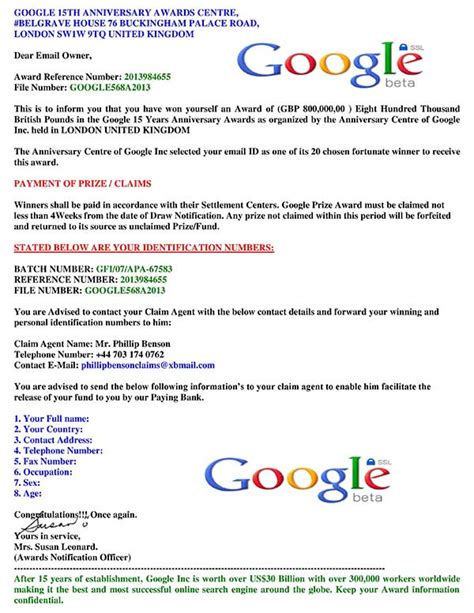 Yahoo Award Letter Email Scams Exles Award Winning Prize Fraudswatch