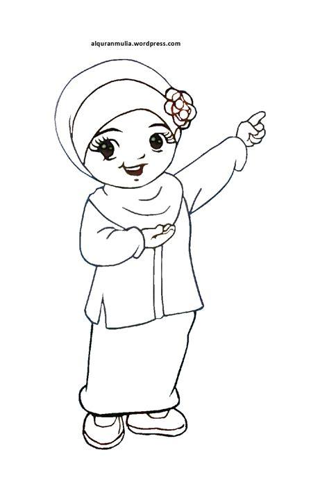 mewarnai gambar kartun anak muslimah 18 alqur anmulia