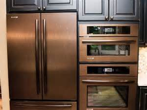 bronze colored appliances copper refrigerator wall oven and wall microwave copper