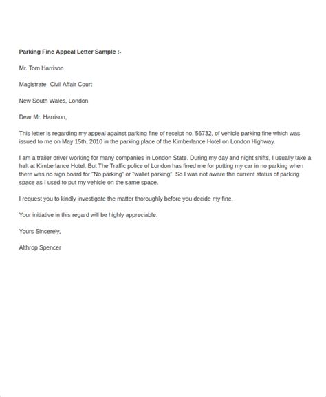 Sle Letter To Dispute A Parking Ticket Parking Ticket Appeal Sle Letter Docoments Ojazlink