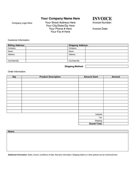 Blank Order Form Template Exle Mughals Form Of Invoice Template