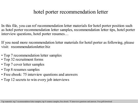 letter of recommendation for hotel porter recommendation letter 1418