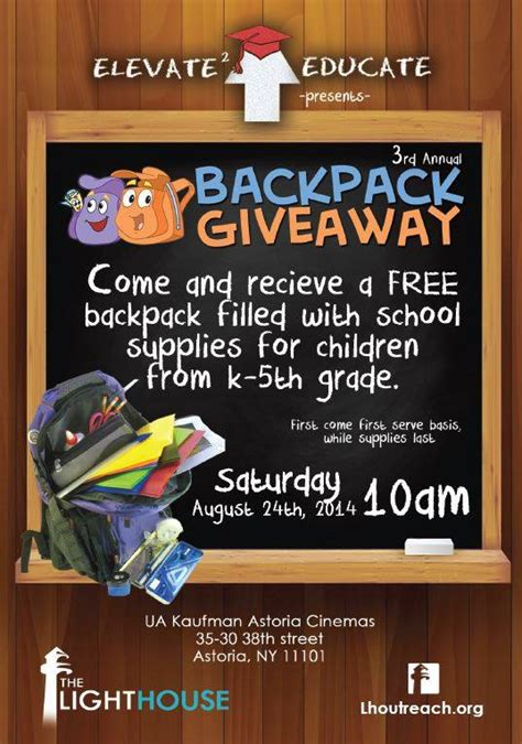 Backpack Giveaway - backpack giveaway this sunday neverending astoria