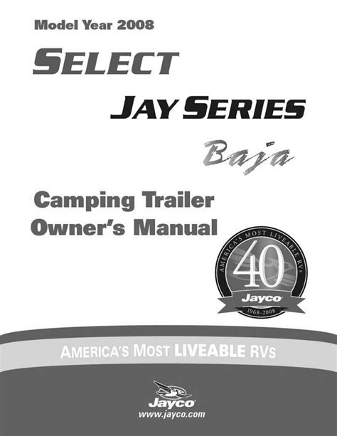Jayco Fold Down Pop Up Tent Trailer Owners Manual 2008