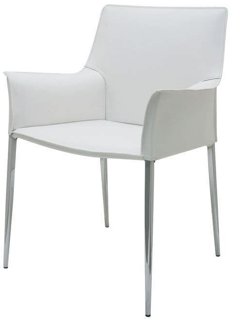 White Leather Dining Chair Colter White Leather Dining Arm Chair Hgar399 Nuevo
